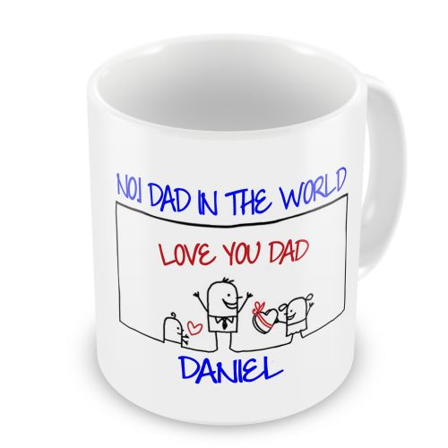 Personalised Any Name No.1 Dad In The World Novelty Gift Mug